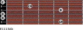 E11/13/Ab for guitar on frets 4, 0, 0, 4, 2, 0