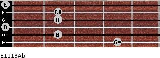E11/13/Ab for guitar on frets 4, 2, 0, 2, 2, 0