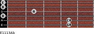 E11/13/Ab for guitar on frets 4, 4, 0, 2, 0, 0