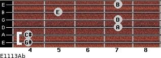 E11/13/Ab for guitar on frets 4, 4, 7, 7, 5, 7