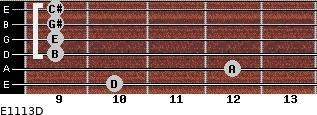 E11/13/D for guitar on frets 10, 12, 9, 9, 9, 9