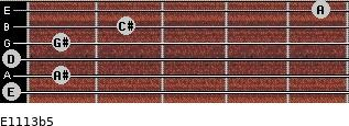 E11/13b5 for guitar on frets 0, 1, 0, 1, 2, 5