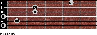 E11/13b5 for guitar on frets 0, 1, 0, 2, 2, 4