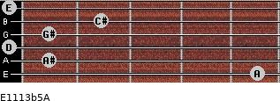 E11/13b5/A for guitar on frets 5, 1, 0, 1, 2, 0