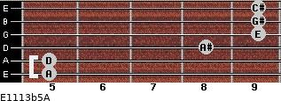 E11/13b5/A for guitar on frets 5, 5, 8, 9, 9, 9