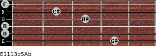E11/13b5/Ab for guitar on frets 4, 0, 0, 3, 2, 0