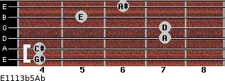 E11/13b5/Ab for guitar on frets 4, 4, 7, 7, 5, 6