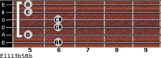 E11/13b5/Bb for guitar on frets 6, 5, 6, 6, 5, 5