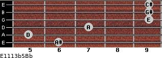 E11/13b5/Bb for guitar on frets 6, 5, 7, 9, 9, 9