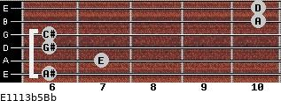 E11/13b5/Bb for guitar on frets 6, 7, 6, 6, 10, 10
