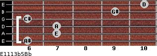 E11/13b5/Bb for guitar on frets 6, 7, 7, 6, 9, 10