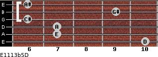 E11/13b5/D for guitar on frets 10, 7, 7, 6, 9, 6