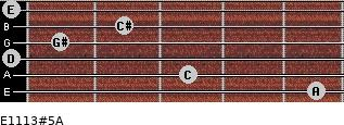 E11/13#5/A for guitar on frets 5, 3, 0, 1, 2, 0