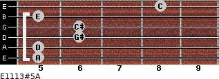 E11/13#5/A for guitar on frets 5, 5, 6, 6, 5, 8