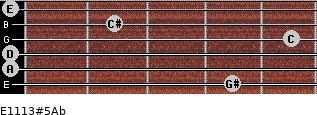 E11/13#5/Ab for guitar on frets 4, 0, 0, 5, 2, 0