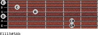 E11/13#5/Ab for guitar on frets 4, 4, 0, 2, 1, 0