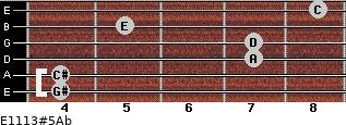 E11/13#5/Ab for guitar on frets 4, 4, 7, 7, 5, 8