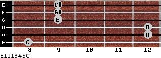 E11/13#5/C for guitar on frets 8, 12, 12, 9, 9, 9
