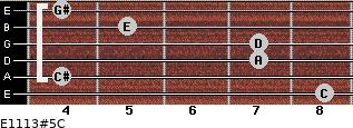 E11/13#5/C for guitar on frets 8, 4, 7, 7, 5, 4