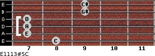 E11/13#5/C for guitar on frets 8, 7, 7, 7, 9, 9