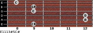 E11/13#5/C# for guitar on frets 9, 12, 12, 9, 9, 8