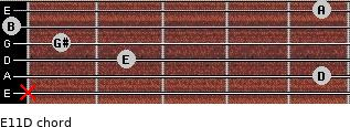 E11/D for guitar on frets x, 5, 2, 1, 0, 5