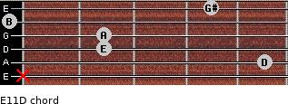 E11/D for guitar on frets x, 5, 2, 2, 0, 4