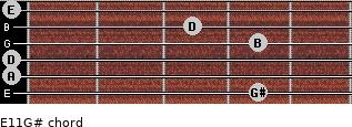 E11/G# for guitar on frets 4, 0, 0, 4, 3, 0