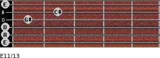 E11/13 for guitar on frets 0, 0, 0, 1, 2, 0