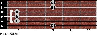 E11/13/Db for guitar on frets 9, 7, 7, 7, 9, 9