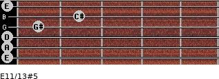 E11/13#5 for guitar on frets 0, 0, 0, 1, 2, 0