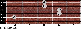 E11/13#5/C for guitar on frets x, 3, 6, 6, 5, 5