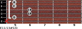 E11/13#5/D for guitar on frets x, 5, 6, 6, 5, 5