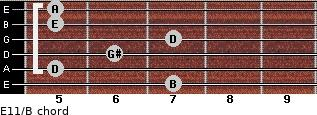 E11/B for guitar on frets 7, 5, 6, 7, 5, 5