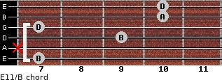 E11/B for guitar on frets 7, x, 9, 7, 10, 10