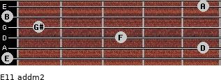 E11 add(m2) for guitar on frets 0, 5, 3, 1, 0, 5