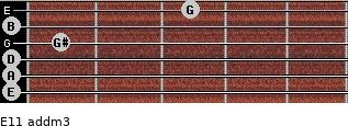E11 add(m3) for guitar on frets 0, 0, 0, 1, 0, 3