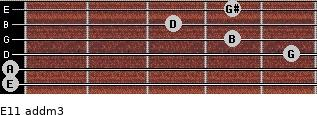 E11 add(m3) for guitar on frets 0, 0, 5, 4, 3, 4