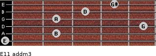 E11 add(m3) for guitar on frets 0, 2, 5, 2, 3, 4