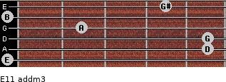 E11 add(m3) for guitar on frets 0, 5, 5, 2, 0, 4