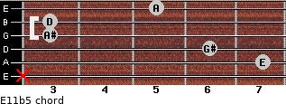 E11b5 for guitar on frets x, 7, 6, 3, 3, 5