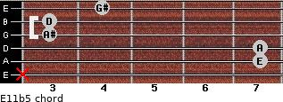 E11b5 for guitar on frets x, 7, 7, 3, 3, 4