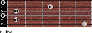 E11b5/A for guitar on frets 5, 1, 0, 1, 3, 0