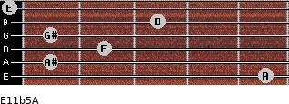E11b5/A for guitar on frets 5, 1, 2, 1, 3, 0