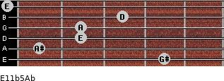 E11b5/Ab for guitar on frets 4, 1, 2, 2, 3, 0