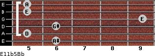 E11b5/Bb for guitar on frets 6, 5, 6, 9, 5, 5
