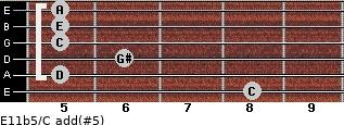 E11b5/C add(#5) for guitar on frets 8, 5, 6, 5, 5, 5