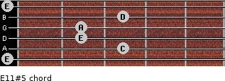 E11#5 for guitar on frets 0, 3, 2, 2, 3, 0