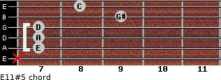 E11#5 for guitar on frets x, 7, 7, 7, 9, 8