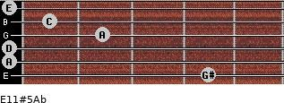 E11#5/Ab for guitar on frets 4, 0, 0, 2, 1, 0